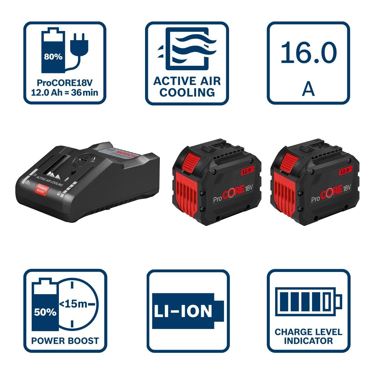 BOSCH Akumulatoru un lādētāja komplekts BOSCH GBA 18V, 2x12Ah ProCORE + GAL 18V-160 C, 1600A016GY