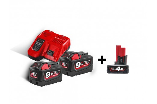 Milwaukee Batteries & chargers starter set M18 NRG-902, M18 B9 2x9,0 Ah + M12 4Ah, Lādētājs M12-18 FC, 4933451422