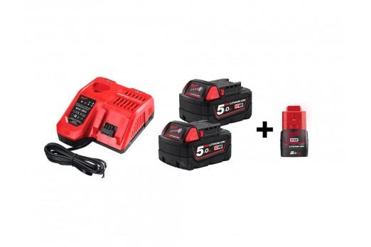 Batteries & chargers starter set Milwaukee M18 NRG-502, M18 B5 2x5,0 Ah + M12 2.0Ah, Lādētājs M12-18 FC, 4933459217