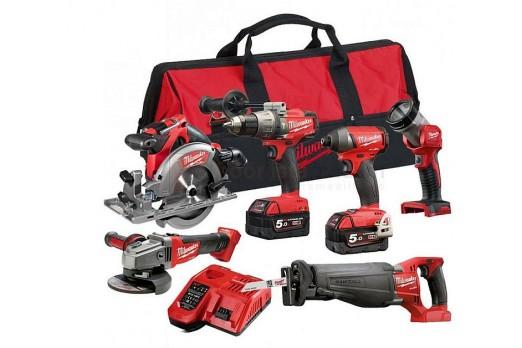 Milwaukee Cordless tools set M18 FPP6C2-502B, M18 FPD2, M18 FID2, M18 CCS55, M18 CSX, M18 CAG 125X, M18 TLED, 2x5.0Ah 4933464592