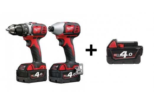 MILWAUKEE Cordless Impact Driver/Wrench set M18 BDD-402C + M18 BID 3x4.0Ah 4933447126A