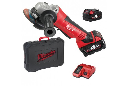 MILWAUKEE Akumulatora leņķa slīpmašīna HD18 AG-125-402C 2x4.0Ah 4933441507
