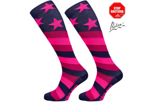 ELEVEN knee compression socks STARS pink