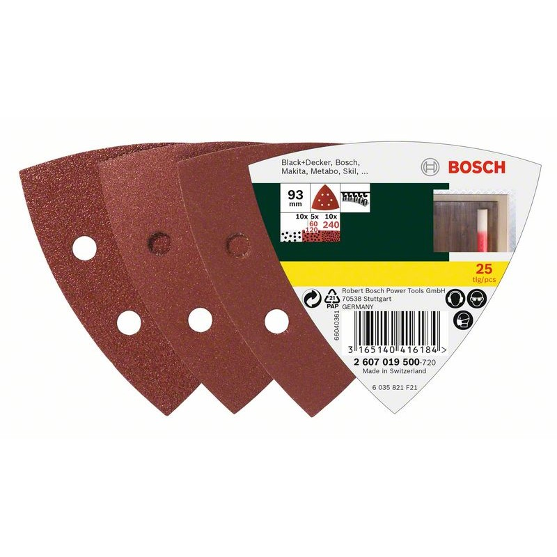 BOSCH Delta grinder blade Hook-and-loop-backed, Punched Grit size 60-240 Width across corners 93 mm 25pcs. 2607019500