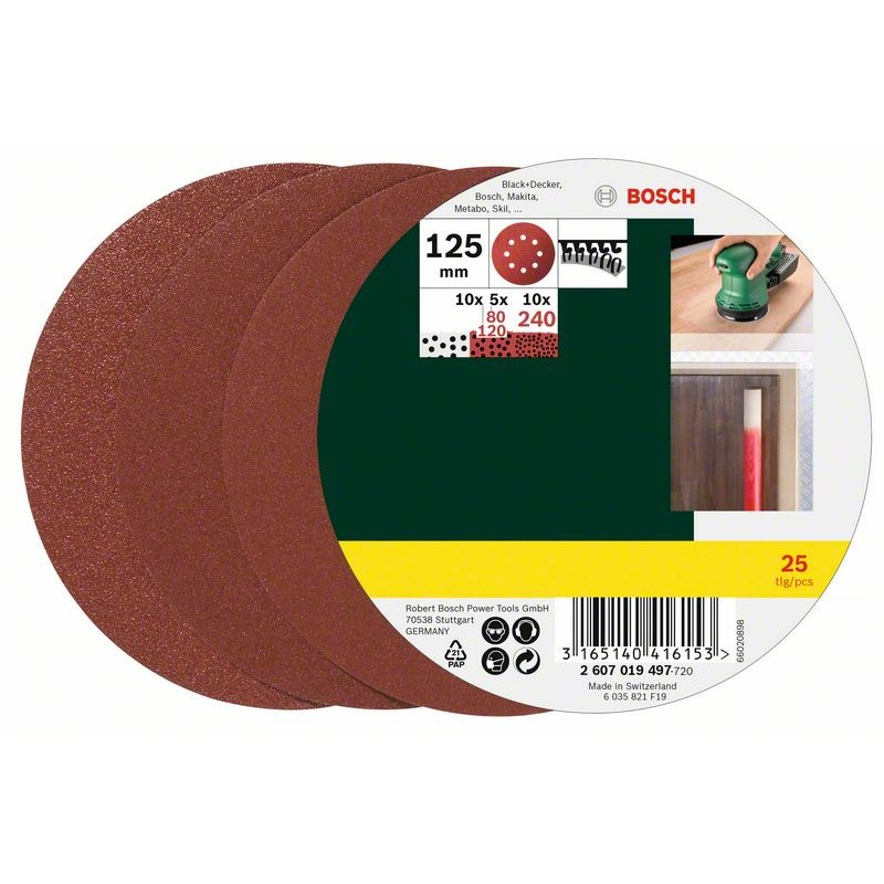 BOSCH Router sandpaper Hook-and-loop-backed, Punched Grit size 80-240 (Ø) 125 mm 25 pcs 2607019497