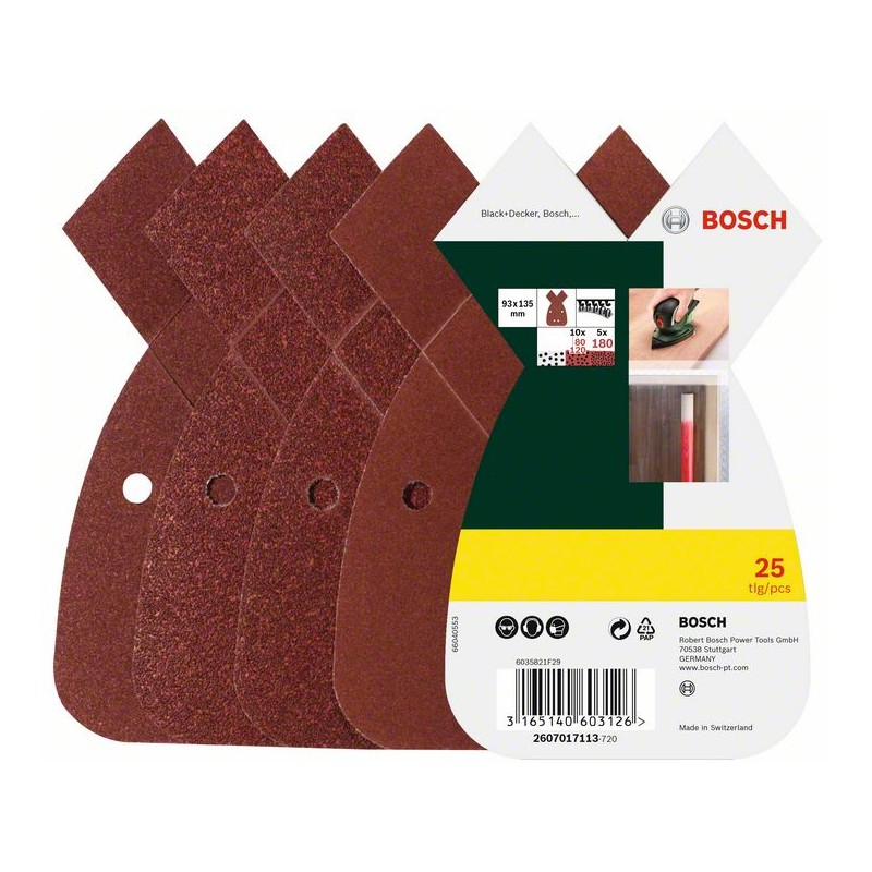 BOSCH Multi-purpose sandpaper set Hook-and-loop-backed, Punched Grit size 80, 120, 180 (L x W) 2607017113