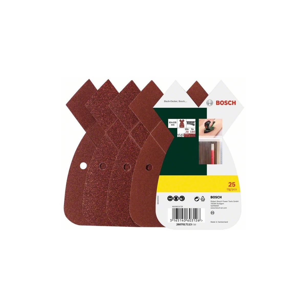 BOSCH Slīppapīrs B&D Mouse, 25gab. K80/120/180, 4 caurumi B&D 2607017113