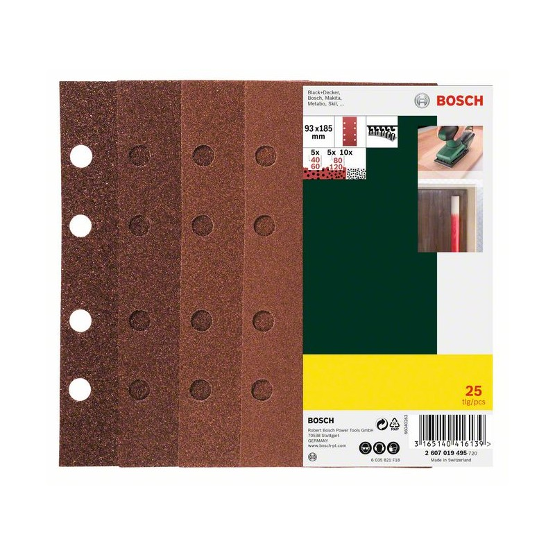 BOSCH Sander paper set Hook-and-loop-backed, Punched Grit size 60, 80, 120 (L x W) 185 mm x 93 2607019495