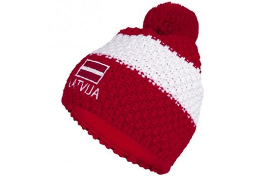 ELEVEN adīta cepure POM LATVIJA sarkana