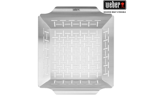 WEBER DELUXE GRILLING BASKET - STAINLESS STEEL, SQUARE AND DISHWASHER SAFE 30x35cm, 6434