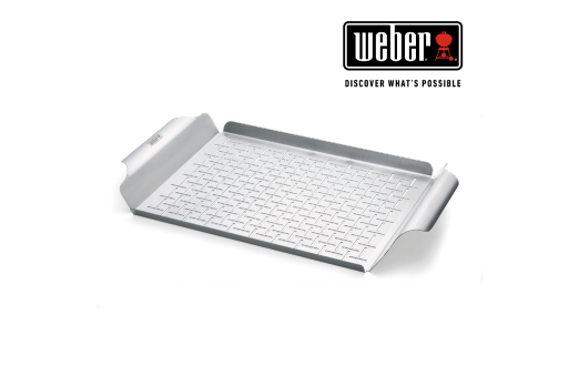 WEBER DELUXE GRILLING PAN - STAINLESS STEEL, RECTANGULAR AND DISHWASHER SAFE 30x44cm, 6434